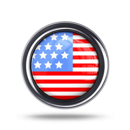 flag button United State of America  isolated on white background High resolution 3d  photo