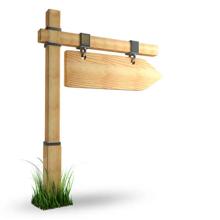 channelize: wooden arrow - index on a column isolated on white background High resolution 3d