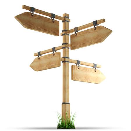 Flèche en bois - index sur une colonne isolé sur fond blanc haute résolution 3D Banque d'images - 24067208