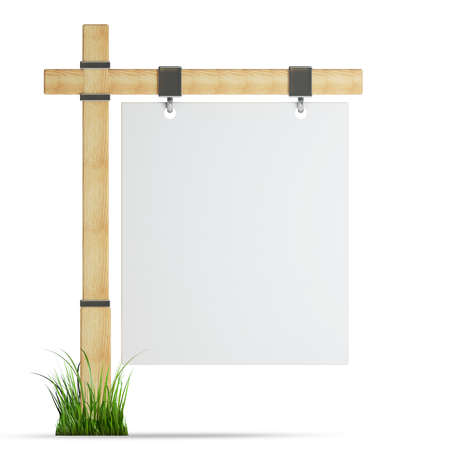 channelize: blank wooden advertising billboard isolated on white background High resolution 3d