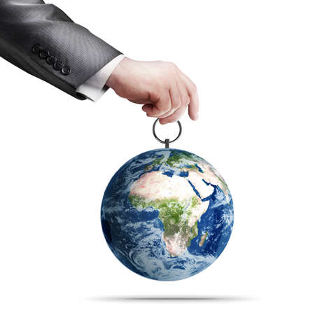 obsolescence: Mans hand holding Earth (CONCEPT)