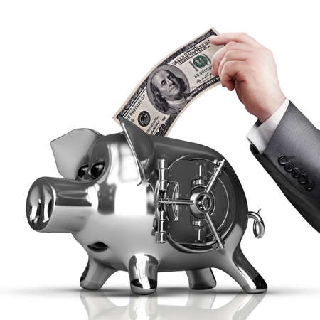 Businessman hand is putting money into piggy bank isolated on white background High resolution  photo