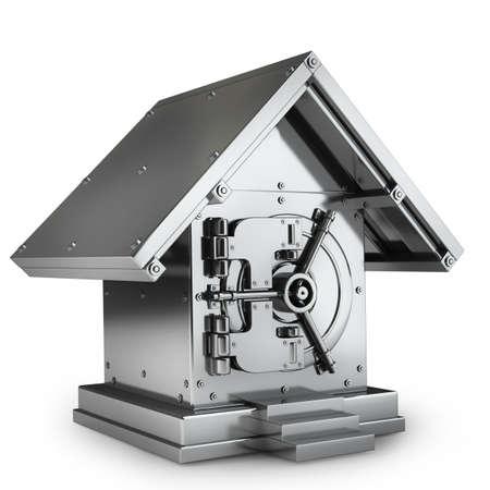 Bank Safe in vorm huizen geïsoleerd op witte achtergrond Hoge resolutie 3D