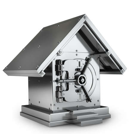 Caja fuerte de en casas de forma aisladas sobre fondo blanco 3d de alta resoluci�n