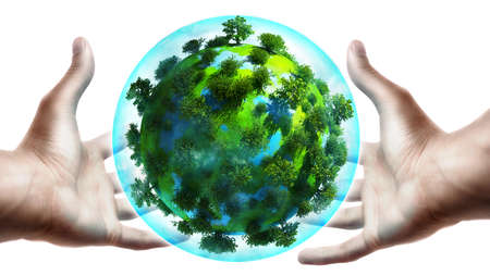 save the sea: concept. hands holding a glowing earth globe in his hands Stock Photo