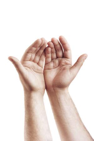 manos abiertas: Las manos aisladas en fondo blanco de alta resolución Foto de archivo