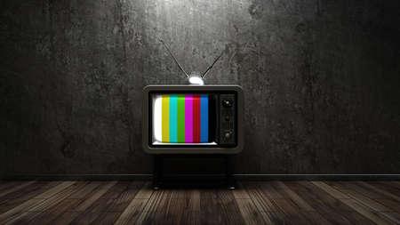 ビンテージ ルーム テレビ。インテリアの背景。高解像度 3 d のレンダリング