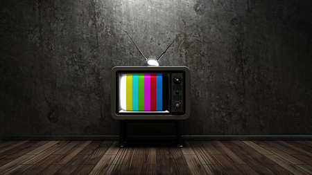 show case: room with vintage TV. interior background. High resolution 3d render