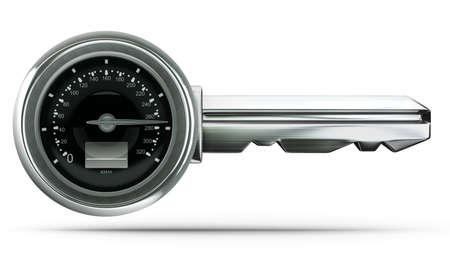 Het concept sleutel geïsoleerd op witte achtergrond Hoge resolutie 3D