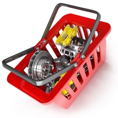 rode plastic winkelmandje met onderdelen die op witte achtergrond Hoge resolutie 3D Stockfoto