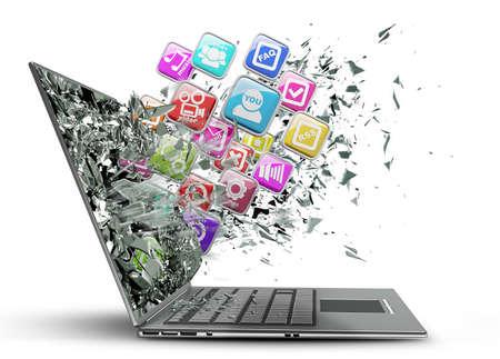 Computer mobiliteit. laptop met kleur pictogrammen voor toepassingen op witte achtergrond Hoge resolutie 3D