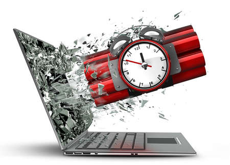 Bomb with clock timer exit by a monitor of laptop screen isolated on white background High resolution 3d  photo