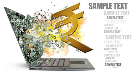 laptop with broken screen on fire symbol of currencies isolated on white background High resolution 3d  photo