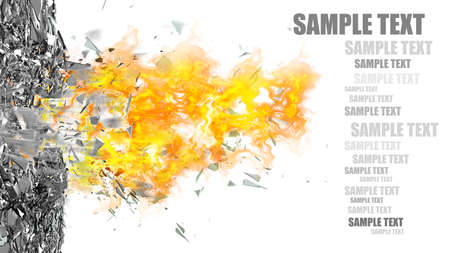 abstract background. broken glass and fire isolated on white background High resolution 3d  Stock Photo