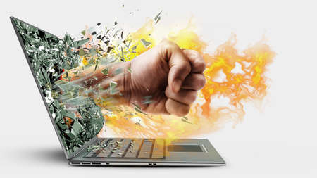 key punching: Fist on fire from laptop. isolated on white background High resolution 3d  Stock Photo