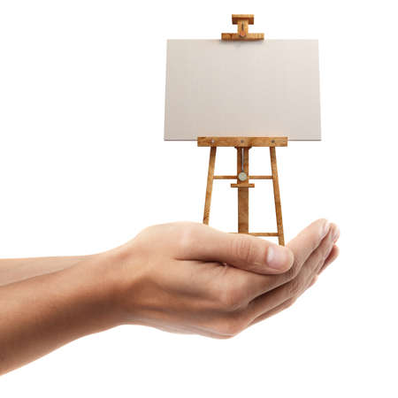 Man hand holding object ( Blank Canvas on easel )  isolated on white background. High resolution  photo