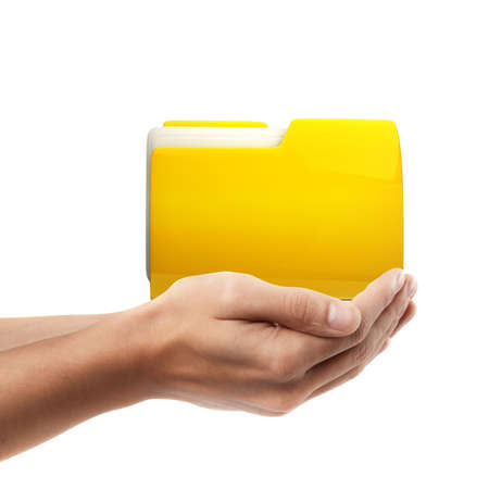 Man hand holding object ( Yellow folder  )  isolated on white background. High resolution  photo