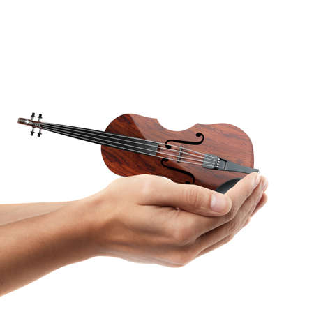 Man hand holding object ( Classic violin )  isolated on white background. High resolution  photo