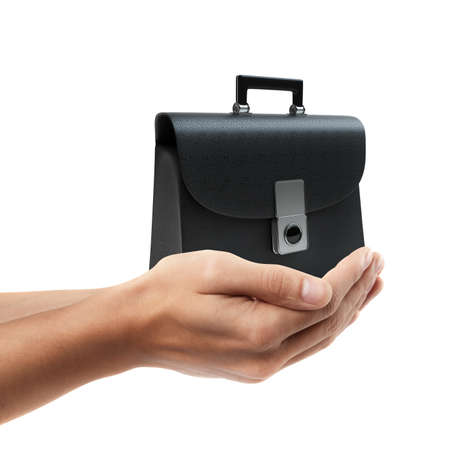 brief case: Man hand holding object ( Black leather briefcase )  isolated on white background. High resolution