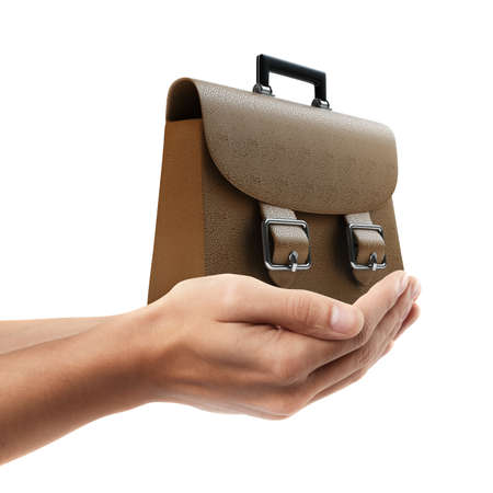 brief case: Man hand holding object ( Brown leather briefcase )  isolated on white background. High resolution