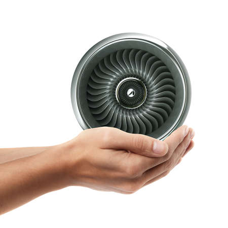 Man hand holding object ( Jet engine )  isolated on white background. High resolution  Stock Photo - 24081854