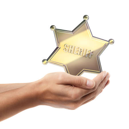 Man hand holding object ( Golden Sheriff Star )  isolated on white background. High resolution  photo