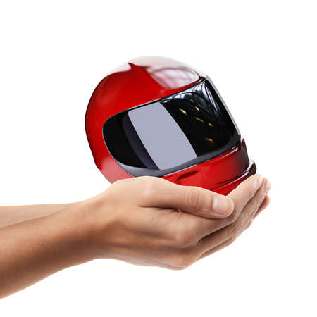 Man hand holding object ( Red moto helmet )  isolated on white background. High resolution  photo