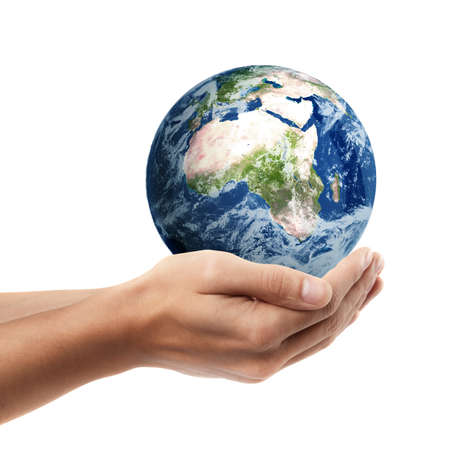 Man hand holding object ( Earth )  isolated on white background. High resolution.  photo