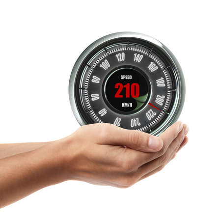Man hand holding object ( Speedometer )  isolated on white background. High resolution  photo