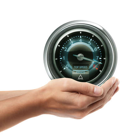 Man hand holding object ( tachometer )  isolated on white background. High resolution  photo