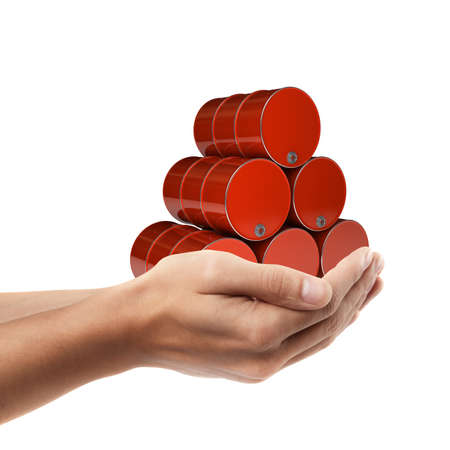 Man hand holding object ( red FUEL barrels )  isolated on white background. High resolution   photo