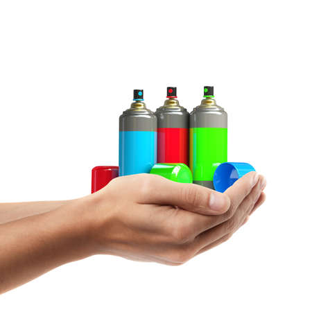 Man hand holding object ( color spray cans )  isolated on white background. High resolution  photo