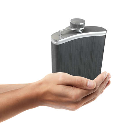 hip flask: Man hand holding object ( Hip flask )  isolated on white background. High resolution  Stock Photo