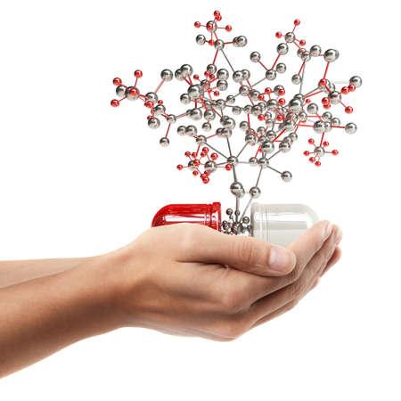 Man de hand houden object (pil met molecuul structuur) op een witte achtergrond. Hoge resolutie