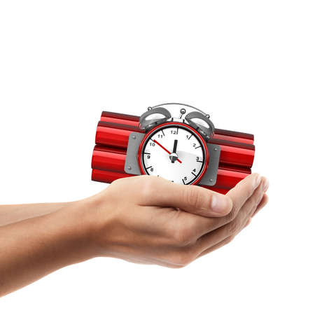 Man hand holding object ( Bomb with clock timer )  isolated on white background. High resolution  photo