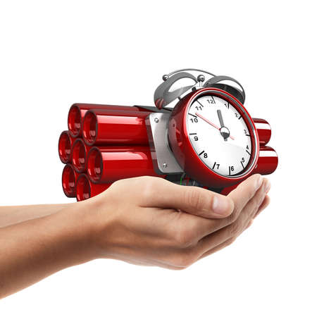human time bomb: Man hand holding object ( Bomb with clock timer )  isolated on white background. High resolution