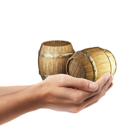 Man hand holding object ( Wooden barrels )  isolated on white background. High resolution  photo