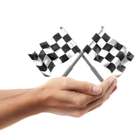 Man hand holding object ( Two crossed checkered flags )  isolated on white background. High resolution   Stock Photo