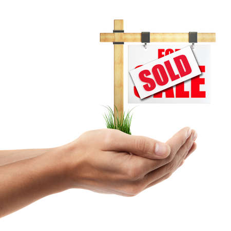 Man hand holding object ( For sale sign )  isolated on white background. High resolution Stock Photo - 24081962