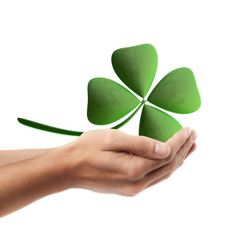 Man hand holding object ( green clover )  isolated on white background. High resolution
