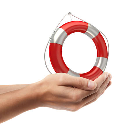 beach buoy: Man hand holding object ( Red lifebelt )  isolated on white background. High resolution