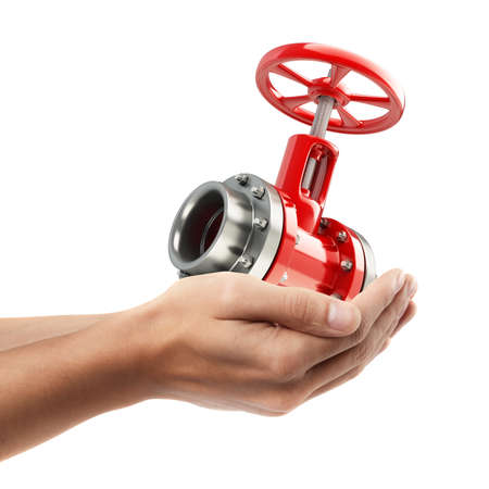 water pump: Man hand holding object ( pipe with a red valve )  isolated on white background. High resolution