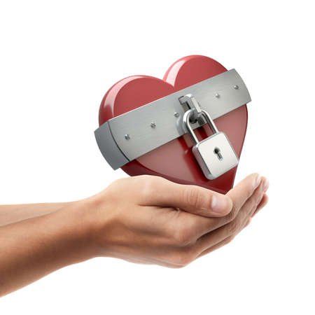 Man hand holding object ( heart is closed to lock )  isolated on white background. High resolution   photo