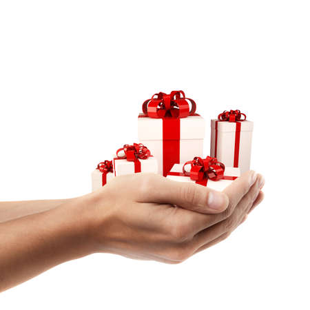 Man hand holding object ( white gift box with red ribbon and bow  )  isolated on white background. High resolution  photo