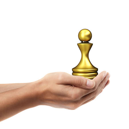 Man hand holding object ( golden chess figure )  isolated on white background. High resolution