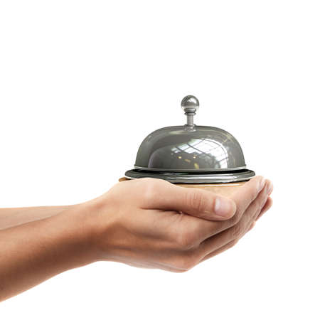 Man hand holding object ( Reception bell )  isolated on white background. High resolution  photo