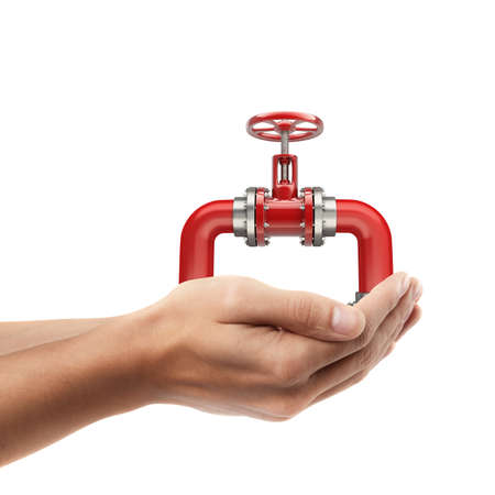 Man hand holding object ( pipe with a red valve )  isolated on white background. High resolution  photo