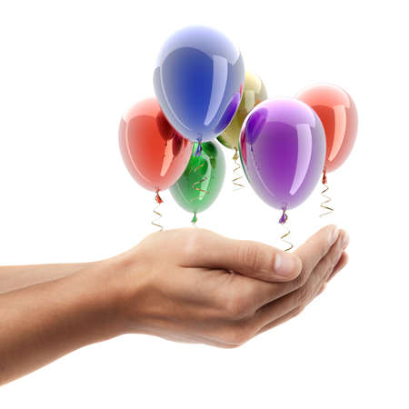 Man hand holding object ( party helium balloons )  isolated on white background. High resolution  photo
