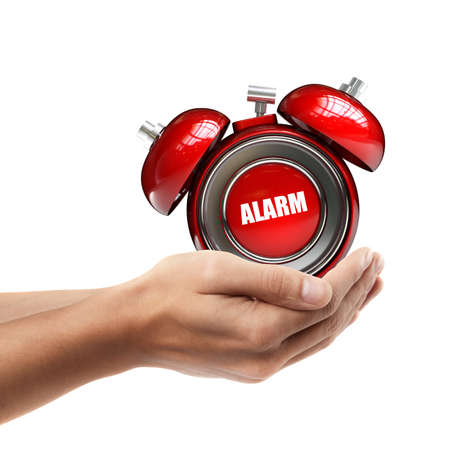Man hand holding object ( alarm bell )  isolated on white background. High resolution   photo