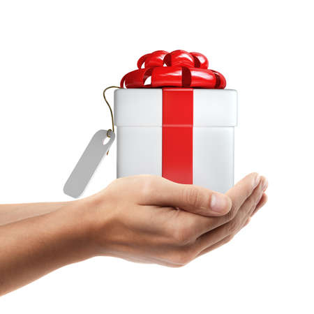 Man hand holding object ( white gift box with red ribbon and bow  )  isolated on white background. High resolution